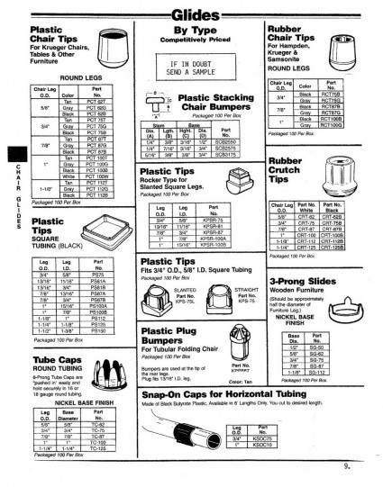 Plastic and rubber chair tips;  Tube Caps; Crutch tips; Slides for wooden furniture.