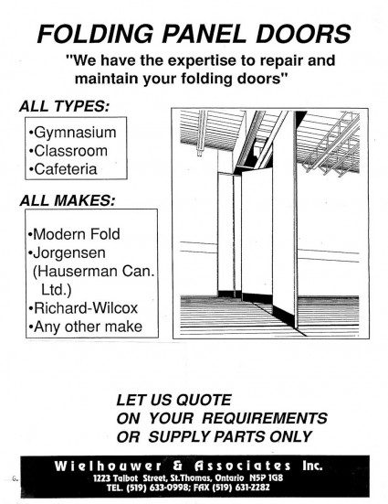 Folding panel door repair, maintenance and parts supply for all types including gymnasium, classroom, and cafeteria.  Seriving all makesi ncluding Modern Fold, Jorgensen (Hauserman Canada), and Richard-Wilcox.