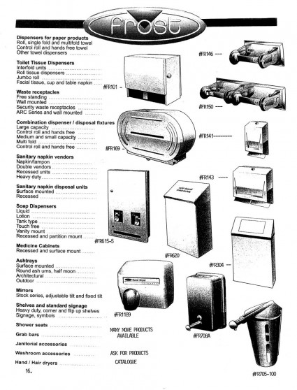 Frost Dispensers and Washroom Accessories