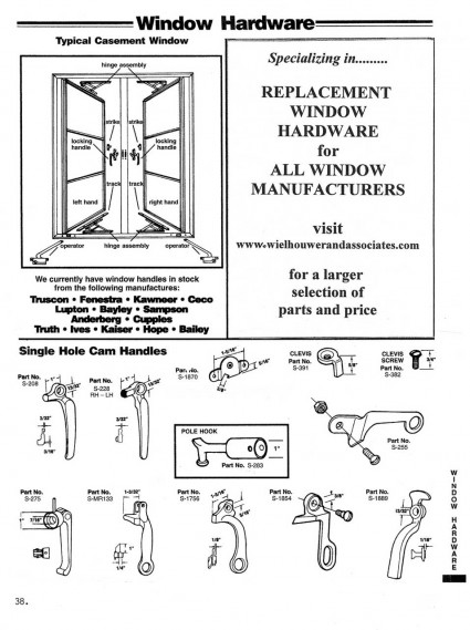 Casement Window Diagram Single Hole Cam Handles