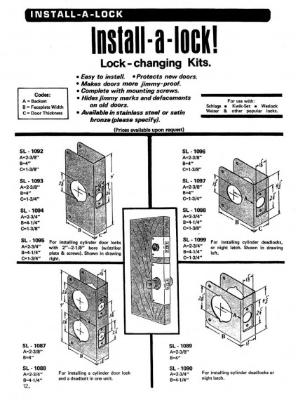 Install-a-lock lock changing kits - easy to install, makes doors more jimmy-proof