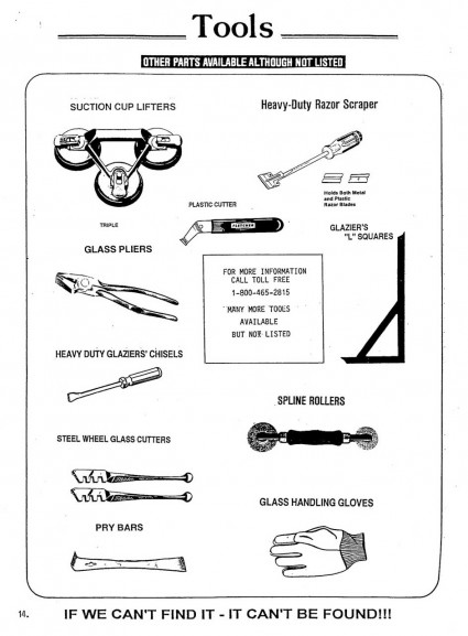 Tools for window repair and glass replacement.